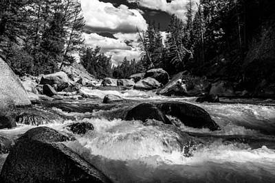Lamar River Photograph - Lamar River Yellowstone Black And White by TL  Mair