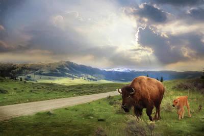 Yellowstone National Park Digital Art - Lamar Valley Bison by Lori Deiter