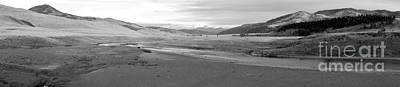 Lamar River Photograph - Lamar Valley Black And White Panorama by Adam Jewell