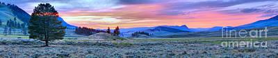Lamar River Photograph - Lamar Valley Fiery Sunset Panorama by Adam Jewell