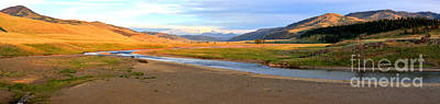 Lamar River Photograph - Lamar Valley Sunset Glow Panorama by Adam Jewell