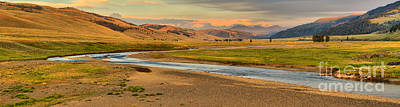 Lamar River Photograph - Lamar Valley Sunset Panorama by Adam Jewell