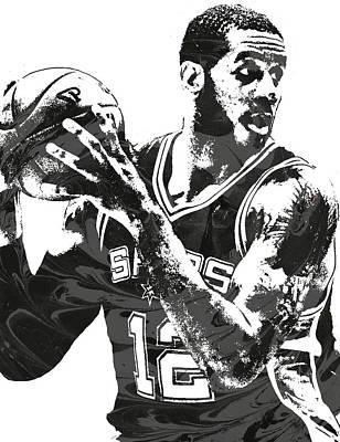 Mixed Media - Lamarcus Aldridge San Antonio Spurs Pixel Art by Joe Hamilton