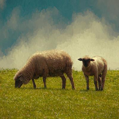 Lamb And Mother Art Print by John K Woodruff