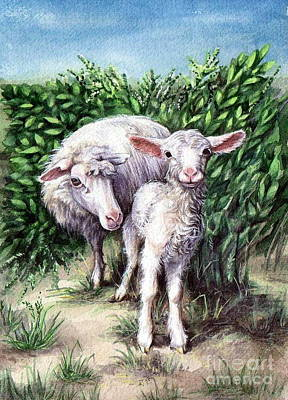 Lamb With His Mother Art Print by Larissa Prince