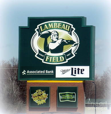 Photograph - Lambeau Field Sign by Kay Novy