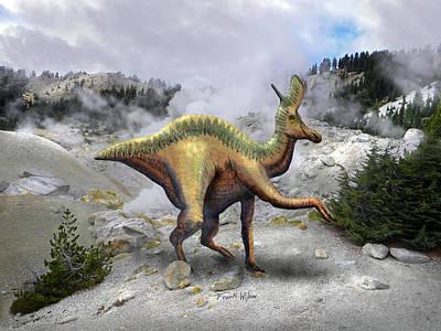 Dinosaur Mixed Media - Lambeosarus Near Steam Vent by Frank Wilson