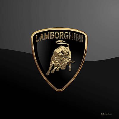 Lamborghini - 3d Badge On Black Art Print by Serge Averbukh