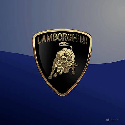 Digital Art - Lamborghini 3d Badge Special Edition On Blue by Serge Averbukh