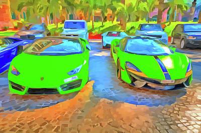 Photograph - Lamborghini And Mclaren Pop Art by David Pyatt