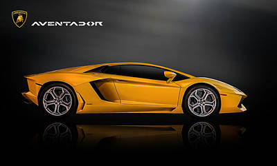 Yellow Digital Art - Lamborghini Aventador by Douglas Pittman