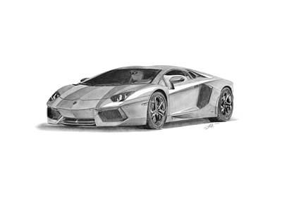 Sport Car Drawing - Lamborghini Aventador Lp700-4 by Gabor Vida