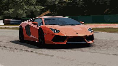 Painting - Lamborghini Aventador On Circuit by Andrea Mazzocchetti