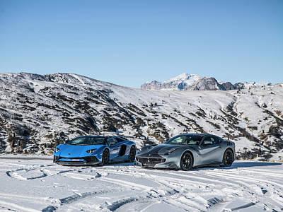 Photograph - Lamborghini Aventador Sv And Ferrari F12 Tdf by George Williams
