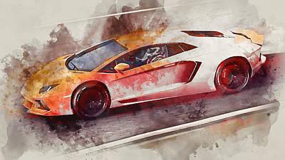Painting - Lamborghini Aventador - Watercolor 01 by Andrea Mazzocchetti