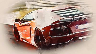 Painting - Lamborghini Aventador - Watercolor 02 by Andrea Mazzocchetti