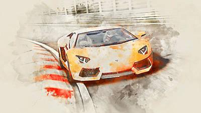 Painting - Lamborghini Aventador - Watercolor 03 by Andrea Mazzocchetti