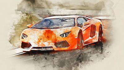 Painting - Lamborghini Aventador - Watercolor 05 by Andrea Mazzocchetti