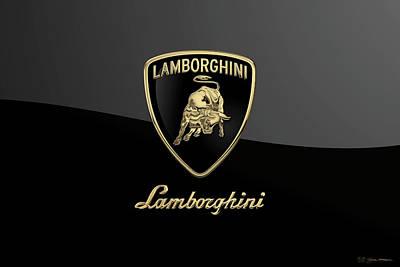 Digital Art - Lamborghini Badge - Luxury Edition On Black by Serge Averbukh