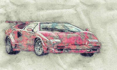 Royalty-Free and Rights-Managed Images - Lamborghini Countach 1 - Sports Car - Automotive Art - Car Posters by Studio Grafiikka