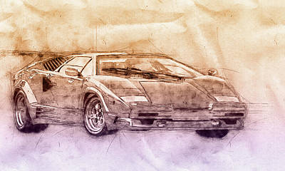 Mixed Media Royalty Free Images - Lamborghini Countach 2 - Sports Car - Automotive Art - Car Posters Royalty-Free Image by Studio Grafiikka