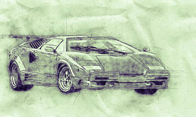 Royalty-Free and Rights-Managed Images - Lamborghini Countach 3 - Sports Car - Automotive Art - Car Posters by Studio Grafiikka