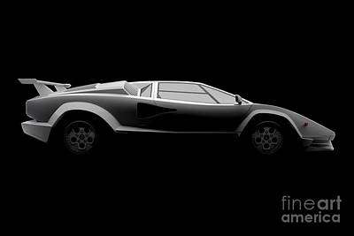 Digital Art - Lamborghini Countach 5000 Qv 25th Anniversary - Side View by David Marchal