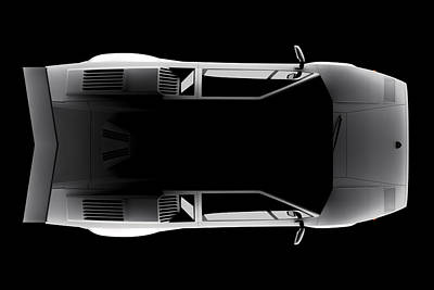 Digital Art - Lamborghini Countach 5000 Qv 25th Anniversary - Top View by David Marchal
