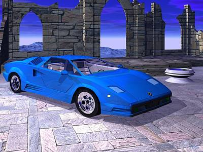 Digital Art - Lamborghini Countach by John Pangia