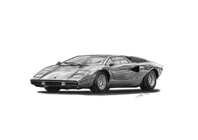 Sport Car Drawing - Lamborghini Countach Lp400 by Gabor Vida