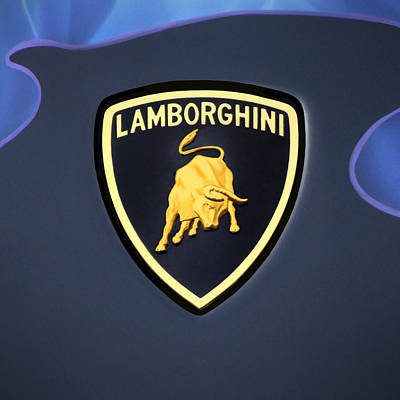Square Art Digital Art - Lamborghini Emblem by Mike McGlothlen