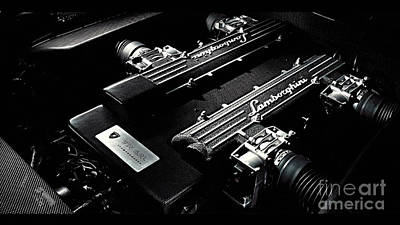 Digital Art - Lamborghini Engine by Marvin Blaine
