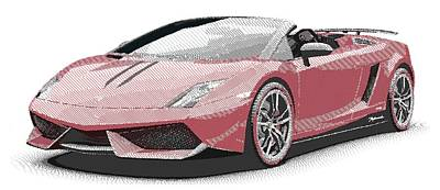 Drawing - Lamborghini Gallardo - Parallel Hatching by Samuel Majcen