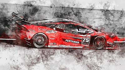 Painting - Lamborghini Huracan Gt3 - 12 by Andrea Mazzocchetti