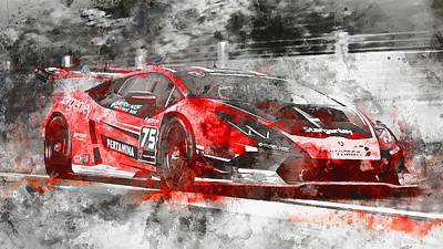 Painting - Lamborghini Huracan Gt3 - 16 by Andrea Mazzocchetti
