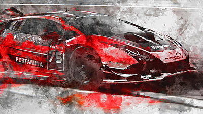 Painting - Lamborghini Huracan Gt3 - 18 by Andrea Mazzocchetti