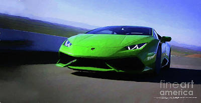 Digital Art - Lamborghini Huracan Lp 610-4 by Roger Lighterness