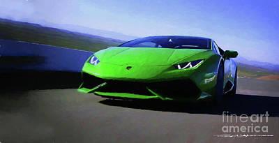 Digital Art - Lamborghini Huracan Lp 610-4 by Roger Lighterness