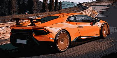 Painting - Lamborghini Huracan On The Street by Andrea Mazzocchetti