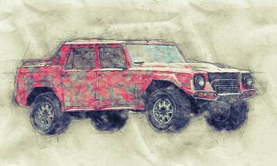 Royalty-Free and Rights-Managed Images - Lamborghini LM002 - Sport Utility Vehicle 1 - 1986 - Automotive Art - Car Posters by Studio Grafiikka