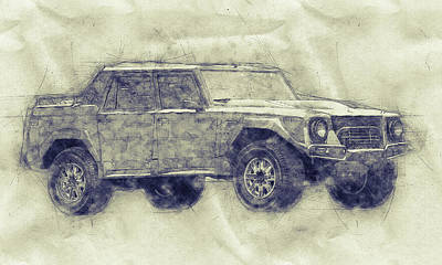 Royalty-Free and Rights-Managed Images - Lamborghini LM002 - Sport Utility Vehicle - 1986 - Automotive Art - Car Posters by Studio Grafiikka