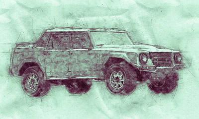 Royalty-Free and Rights-Managed Images - Lamborghini LM002 - Sport Utility Vehicle 3 - 1986 - Automotive Art - Car Posters by Studio Grafiikka