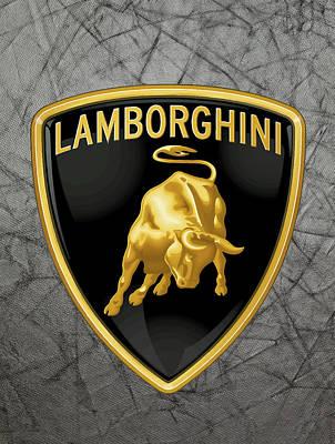 Digital Art - Lamborghini Logo by Daniel Hagerman