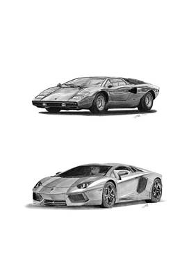 Sport Car Drawing - Lamborghini Lp V12 Duo by Gabor Vida