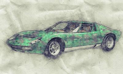 Mixed Media Royalty Free Images - Lamborghini Miura 1 - Sports Car - 1966 - Automotive Art - Car Posters Royalty-Free Image by Studio Grafiikka