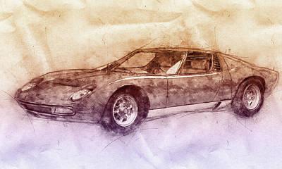 Mixed Media Royalty Free Images - Lamborghini Miura 2 - Sports Car - 1966 - Automotive Art - Car Posters Royalty-Free Image by Studio Grafiikka