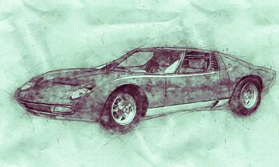 Mixed Media Royalty Free Images - Lamborghini Miura 3 - Sports Car - 1966 - Automotive Art - Car Posters Royalty-Free Image by Studio Grafiikka
