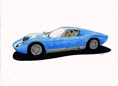 Super Cars Drawing - Lamborghini Miura by Dan Poll