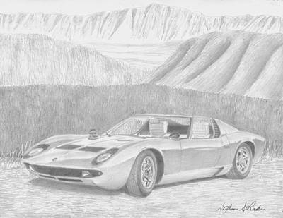 Lamborghini Miura Exotic Car Art Print Drawing By Stephen Rooks