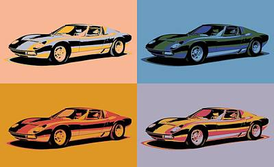 Mixed Media - Lamborghini Miura Pop Art by Dan Sproul
